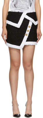 Balmain Black and White Tweed Wrap Miniskirt