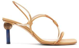 Jacquemus Olbia Ornamental Heel Leather Sandals - Womens - Tan