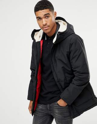 Pull&Bear fleece lined parka in black