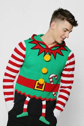 boohoo Hooded 3D Christmas Jumper