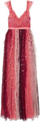 Needle & Thread Rainbow Embellished Tulle Midi Gown - Burgundy
