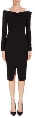 Roland Mouret Accrington Long-Sleeve Contrast-Shoulder Dress