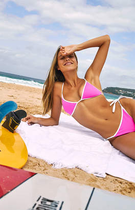 LA Hearts Pink Cape Contrast Triangle Bikini Top