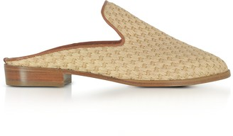Robert Clergerie Aliceop Natural Woven Raffia and Terracotta Brown Leather Flat Mules