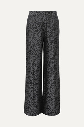 Equipment Arwen Silk-blend Jacquard Wide-leg Pants - Black