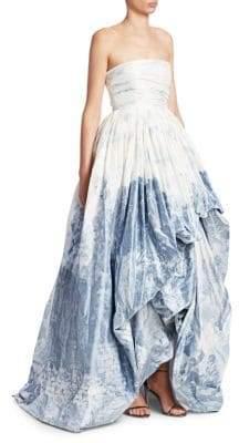 Oscar de la Renta Women's Strapless High-Low Gown - Blue White - Size 10