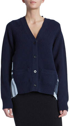 Sacai Solid Front Blanket-Back Cardigan