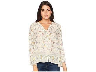 Lucky Brand Printed Peasant Top Women's Long Sleeve Button Up