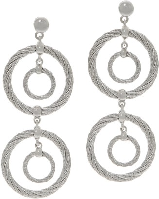 Alor Cable Stainless Steel Circle Drop Earrings