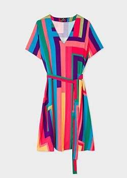 Women's 'Rainbow Stripe' V-Neck Shirt Dress