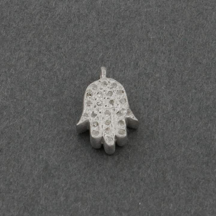 Etsy 1 Piece Pave Diamond Hamsa Charm Pendant Both Side Diamond Bright Silver Single Bail Pendant - 11mm