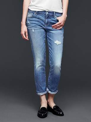 Gap Mid rise destructed best girlfriend jeans