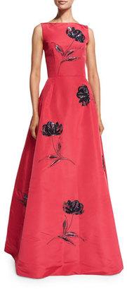 Oscar de la Renta Bateau-Neck Floral-Sequin Gown, Pink/Navy $10,990 thestylecure.com