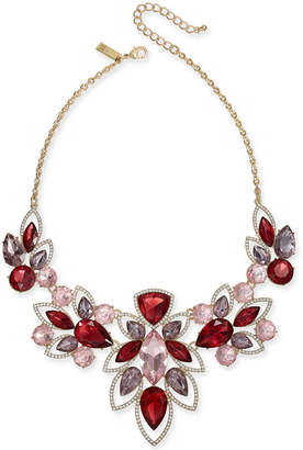 """INC International Concepts I.n.c. Gold-Tone Crystal & Stone Statement Necklace, 18"""" + 3"""" extender"""