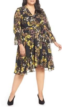 Tahari Chiffon Tie Waist Dress