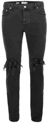Topman Mens Black Blow Out Ripped Jeans