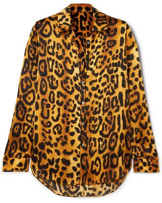 ADAM by Adam Lippes Leopard-print Hammered Silk-crepe Shirt - Brown