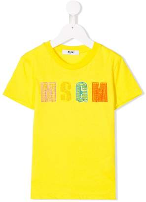 MSGM Kids bead embroidered logo T-shirt