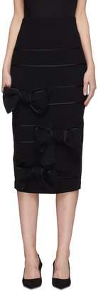 Leal Daccarett 'Ita' bow stripe split back sheep wool skirt