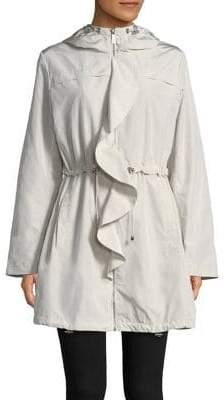 Donna Karan Ruffled-Trim Hooded Jacket