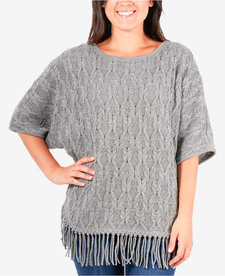 NY Collection Cable Fringe Poncho Sweater