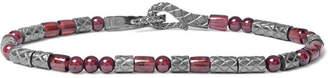 Bottega Veneta Intrecciato Gunmetal-Tone and Granite Bracelet - Silver
