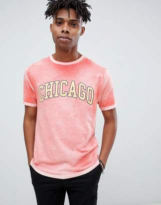 Asos DESIGN relaxed t-shirt with Chicago print and bleach wash