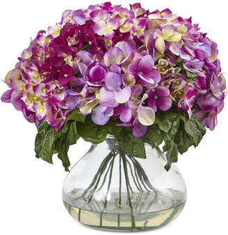 Nearly Natural Dark Pink Hydrangea Artificial Arrangement with Large Glass Vase