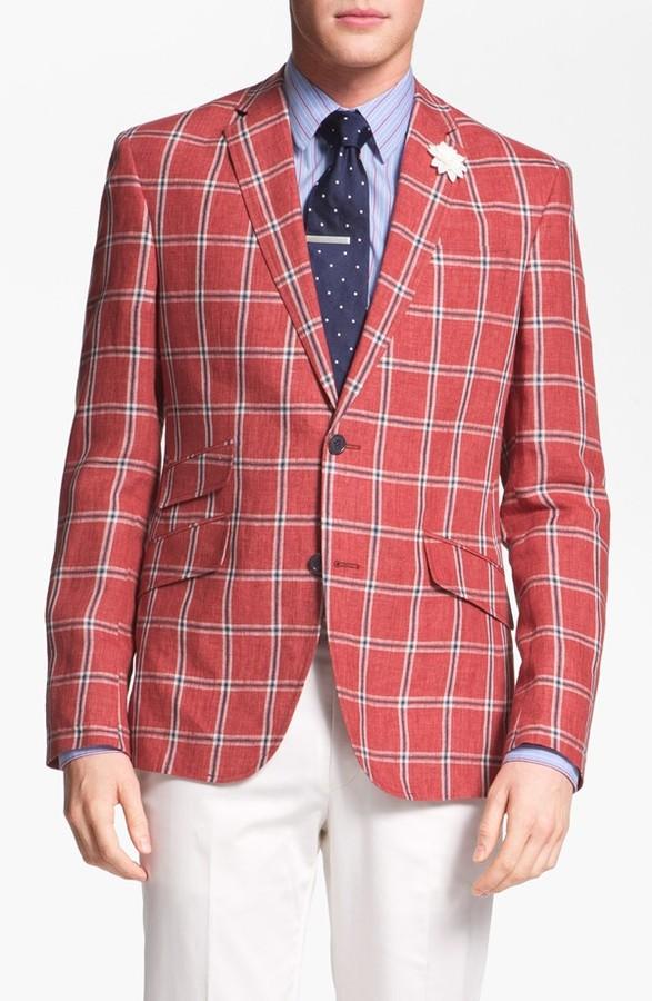 Ted Baker Trim Fit Windowpane Sportcoat 40L