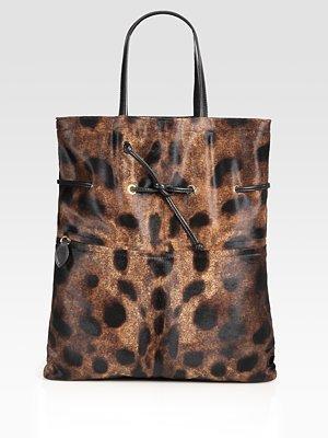 Leopard-Print Haircalf Tote Bag