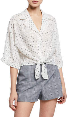 Cupcakes And Cashmere Gardenia Polka Dot Tie-Front Top