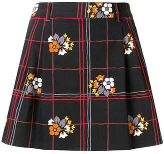 Miu Miu floral grid mini skirt