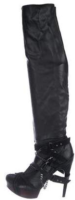 Herve Leger Leather High Heel Chain Boots