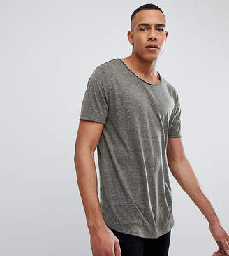 Asos Design DESIGN Tall relaxed longline t-shirt with raw scoop neck and curve hem in linen mix in khaki