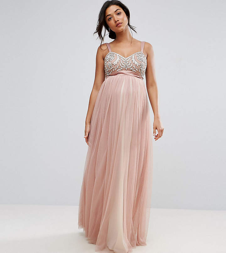 Maya Maternity Embellished Bodice Cami Maxi Dress With Tulle Skirt And Bow Back