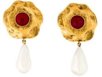 Chanel Gripoix Faux Pearl Clip-On Earrings
