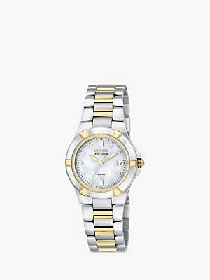 Citizen EW1534-57D Women's Eco-Drive Mother of Pearl Two Tone Bracelet Strap Watch, Silver/Gold