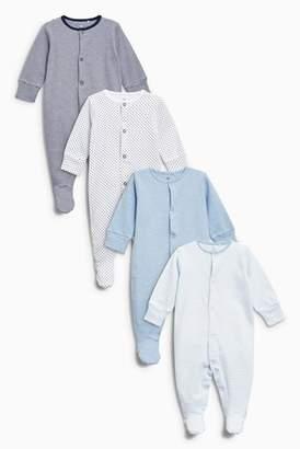 Next Boys Blue/White Sleepsuits Four Pack (0mths-2yrs)