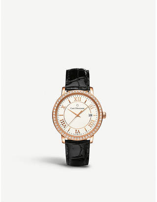 Rosegold CARL F BUCHERER 00.10311.03.15.11 Adamavi rose-gold sapphire crystal diamond and leather watch