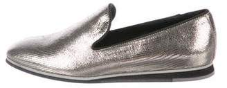 Tod's Metallic Round-Toe Loafers