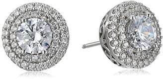 Swarovski Platinum-Plated Sterling Zirconia Double Round Halo Stud Earrings