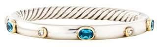 David Yurman Topaz & Diamond Cable Bangle silver Topaz & Diamond Cable Bangle