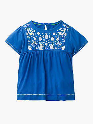 Boden Mini Girls' Tropical Embroidered Top, Blue
