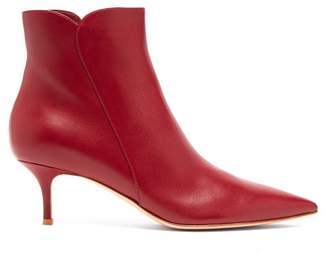 Gianvito Rossi Levy 55 Leather Ankle Boots - Womens - Burgundy