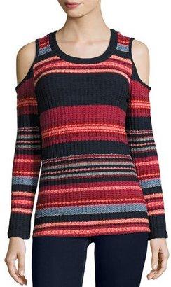 Ella Moss Laurence Cold-Shoulder Multi-Stripe Ribbed Top, Scarlet Multi $148 thestylecure.com