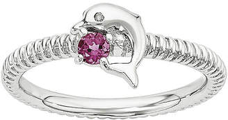 FINE JEWELRY Genuine Pink Tourmaline and Diamond-Accent Sterling Silver Stackable Dolphin Ring
