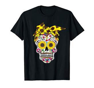 Sugar Skull American Flag Sunflower Bandana 4th Of July T-Shirt