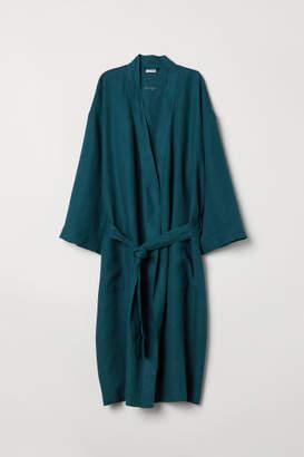 H&M Washed Linen Bathrobe - Turquoise