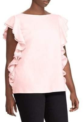 Lauren Ralph Lauren Plus Ruffle Cotton Top