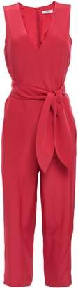 Tibi Cropped Silk-crepe Jumpsuit